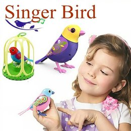 Wholesale Toy Plastic Birds For Kids - Wholesale-Cute Electric Toys Solo Singing Sound Bird Pets Baby Intelligent Music Digibirds With Birdcage Music Bird for Kids Children 793#