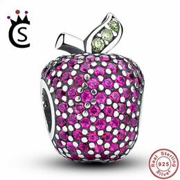 Fancy cz онлайн-Новый потрясающий стерлингового серебра 925 Красный проложить Apple Fancy Красный CZ зеленый кристалл Шарм Fit браслет ювелирных изделий