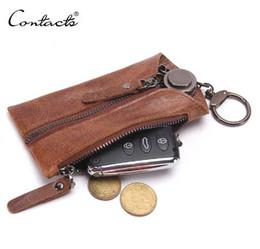 Wholesale Gold Star Keychain - CONTACT'S Vintage Genuine Leather Key Wallet Women Keychain Covers Zipper Key Case Bag Men Key Holder Housekeeper Keys Organizer