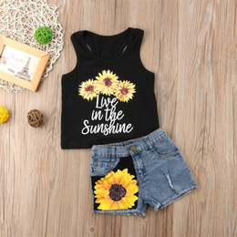 Wholesale Kids Girls Jeans - Summer Kids Girl Clothes Sunflower Vest Jeans Shorts 2Pcs set Outfits Kid Casual Clothes Sweet Girls Sunflower Boutique Costume Clothes
