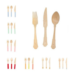 Wholesale woods cake - 24pcs set Disposable flatware birthday cake kinfe forks spoon suit wooden dinnerware eco-friendly camping wedding party supplies free ship