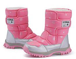 Tecido de neve on-line-Crianças mais recentes botas de neve à prova d 'água oxford tecido crianças botas meados de bezerro meninas sapatos de inverno crianças sapatos meninas botas