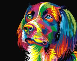 2019 tatuaggi dipinti 16x20 pollici FAI DA TE Colorazione arcobaleno coloratissimo cucciolo di cane Dipinto da numeri Kit Dipinti artistici Dipinti ad olio acrilico su tela