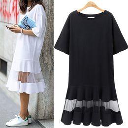 Wholesale white dress shift - 2018 summer Women Plus Size Dress 3XL 4XL XXXL XXXXL Shift Dress Loose Black White Mesh Short Sleeve T Shirt NS8804