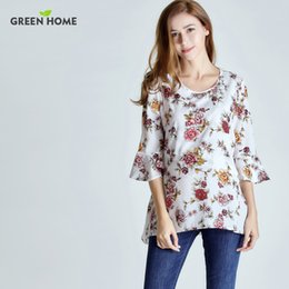 Wholesale Pregnancy Woman Clothes - Green Home Chiffon Floral Maternity Nursing Top For Pregnant Women New Styles Sleeve Design Pregnancy Clothes