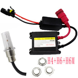 Wholesale Motorcycle Hid Projector Headlights - Motorcycle Xenon Light H4 H6 h6M high and low HID Headlight 12v HID kit Bike Mini HID Projector Ballast