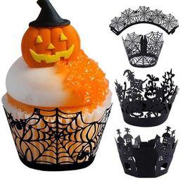 2019 torte di halloween cupcakes Halloween Cupcake Cup Spider Witch Castello Laser Cut Decorazioni per torta Halloween Black Party Cupcake Wrapper 12 pezzi / set torte di halloween cupcakes economici