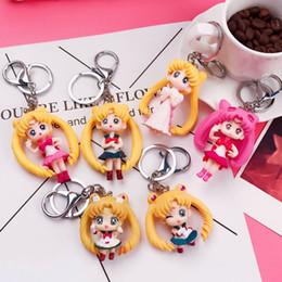 sailor moon anime figures Coupons - 6 Anime Sailor Moon Keychain Mini Figure Carabiner Keychain Key Ring Holder Bang Hangs Toy Fashion Jewelry Drop Shipping