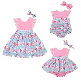 Wholesale Matching Dresses - Family Matching Sister outfits 2Pcs Baby Girls Kids Floral Outfits Set Floral Princess Dress Lace Romper Skirt Party