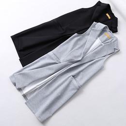 Wholesale White Elegant Cardigans - Elegant Long Vest Women Knitted Cardigan Sleeveless Pockets Vest Female Waistcoat Jacket Outerwear 2017 New