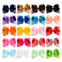 Wholesale Hair Clips Bows Lace Girls - 20pcs lot 8 Inch Large Kids hairbows Girl Grosgrain Ribbon Bow Clips Headdress Children Hair Accessories 678