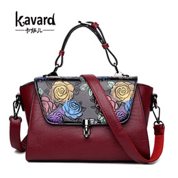 Wholesale Ladies Hand Painted - Luxury Handbags Women Bags Designer Retro Embossed Hand Painted Leather bag brand ladies hand bags Sac a main femme de marque