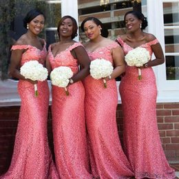 Plus größe korallen sommer kleider online-2019 südafrikanische arabische Koralle Brautjungfer Kleid Sommer Land Garten formale Hochzeitsfeier Gast Trauzeugin Kleid Plus Größe nach Maß