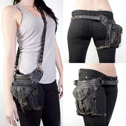 Wholesale Legging Stars - Punk PU Leather Rivet Unisex Hip Leg Fanny Bag Rock Chains Motorcycle Star Rivet Messenger Shoulder Cross Body Belt Waist Pack Bags G216S