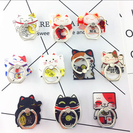 Wholesale Huawei Cat - Universal 360 Degree Cute Cartoon Fortune Cat Finger Ring Holder Phone Stand For Samsung Huawei Mobile Phones