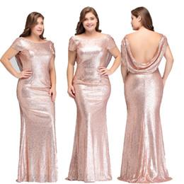 bb3709e1ea Diseñador de lentejuelas de oro rosa Vestidos de dama de honor de manga  corta con capucha Sexy escote trasero sin espalda Vestidos de noche  formales más el ...