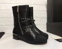 Wholesale C C Marque Rétro Ultra Cheville Bottes En Cuir Femmes Créateurs Chaussures Meilleure Qualité Bottes Pour Dames Automne Bottes D hiver Plus La Taille Image Réelle