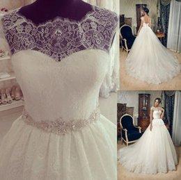 Wholesale Custom Silk Flower Balls - New Cap Sleeve Lace Wedding Dresses Ball Gown Wedding Bridal Gowns Custom