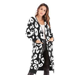 usar abrigo de leopardo Rebajas Otoño Cardigan Loose Fashion Leopard Mujeres de manga larga Outwear Chaqueta Abrigo Tops Cálido desgaste de invierno