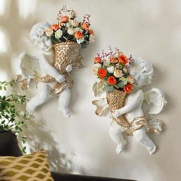 Flores artificiais para vasos on-line-Anéis de Resina de Parede de Anjo Artesanato Estéreo Artificial Silk Flower Vase Para Casa Sala de estar Decoração Suprimentos New Arrival 70 ml BB