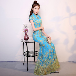 a44759d7b Distribuidores de descuento Vestidos De Boda Chino Azul