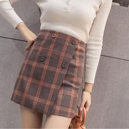 c20f0d541cb4 New Korean Plaid Mini Skirt Wool A-line High Waist Ladies Work Skirts Slim  Tide Women Winter Skirt Free Shipping 2018