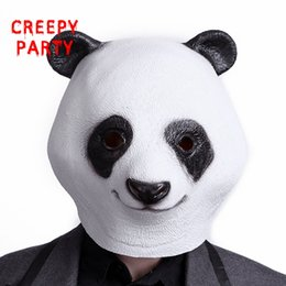 Wholesale Facing Giants - Lovely Giant Panda Latex Mask Adults Full Face Animal Masks Halloween Breathable Masquerade Cospaly Costume Party Masks