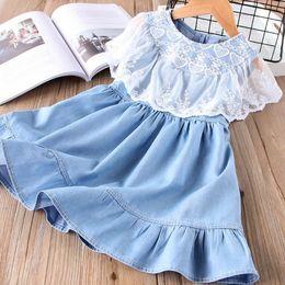 Wholesale Military Jeans - Kids dress girls jeans dress love heart embroidery capes collar princess dresses children denim dress 5 p l