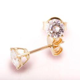 Quilates de oro 14k online-1.0ctw quilates redondo Moissanite 14K oro amarillo Push Back Stud Pendientes prueba Moissanite Diamond positivo para mujeres