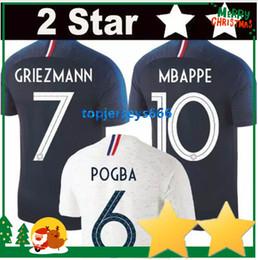Wholesale shirt stars - 2 Stars Thailand GRIEZMANN MBAPPE POGBA soccer jerseys 2018 world cup shirts DEMBELE MARTIAL KANTE jerseys football GIROUD Maillot de foot
