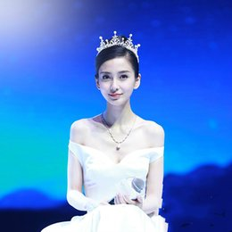 Wholesale Crystal Factory Outlet - Angela baby with princess pearl rhinestone Korean bridal crown headdress wedding yarn jewelry factory outlet