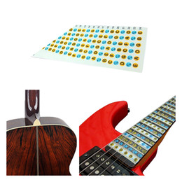 Guitarras elétricas iniciantes on-line-Guitar Fretboard Nota Decalques Fingerboard Frets Mapa Adesivo para Iniciante Aprendizagem Prática Fit 6 Cordas Acústico Guitarra Elétrica