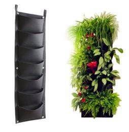 Wholesale outdoor hanging plants - 7 Pockets Hanging Plant Bag Outdoor Indoor Herbs Vertical Garden Planting Bag Wall Balcony Garden EEA383 5pcs