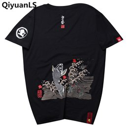 Wholesale japanese men fashion style - QiyuanLS T shirt Men Printed T-shirts Goldfish Japanese Style Tops Tee Shirt Fashion Casual Short Sleeved Streetwear Male Shirts