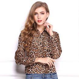 e0787bf688 Fashion leopard print women blouses long sleeve turn-down collar vogue ladies  chiffon shirts summer tops low price freeshipping
