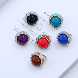 Wholesale Light Blue Stone Jewelry - Wholesale Retro Design Unique Resin Opal Ring Women Jewelry Ring Red Black Brown Black Blue Light Blue