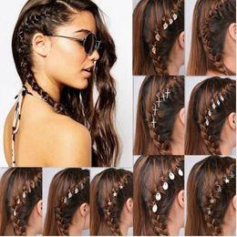 Wholesale Cross Clip Hair - Punk Braid Hair Accessories Leaf Star Charm Hair Clips Pins Head Jewelry Decoration Shell Cross Bergamot Circle Leaves Shape Hairpin KKA4139
