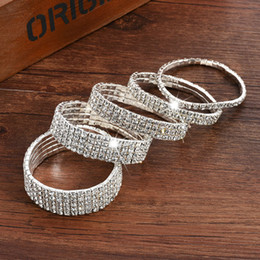 Wholesale Letter Rings For Women - 1PC Fashion Hot Sale Popular Bracelet For Women Crystal Stretch Shine Wedding Bridal Gift