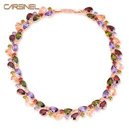 Wholesale rose zircon necklace - CARSINEL Fashion Multicolor Round Necklaces for Women Rose Gold-color Cubic Zircon Women Clothing Accessories Wholesale NE0071