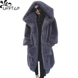5a707e91979 UHYTGF New Fashion Women Winter Fur Coat Whole Leather Imitation rabbit Fur  Jacket Hooded Plus size Loose Warm Long Coat 937