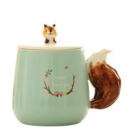 Wholesale Girl 3d Painting - 3D Fox Squirrel Raccoon Animal Hand Painted Porcelain Mug Creative Cute Cartoon Ceramic Milk Coffee Cup for Children Girl Friend