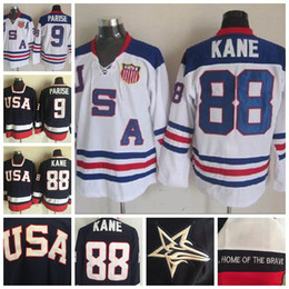 Jersey de eua olimpíadas on-line-2010 Olímpico EUA Hockey Team Jerseys 9 Zach Parise 88 Patrick Kane Azul Branco costurado Jerseys