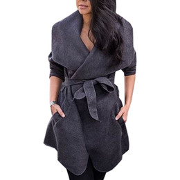97a47ed9e17 2019 giù arco Cappotto invernale Donna Large Size Cappotto Casual Tun-down  Colletto Bow Trench