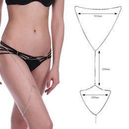 Wholesale belly swimsuit - Women Sexy Swimsuit Silver Rhinestone Chain beach crystal Body Chain Waist Belly Chains Fashion Beach Jewelry for Women Drop ship