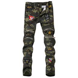 Pantalones vaqueros falsos online-Nuevo 2018 Patch Jeans Hombres Skinny Casual Algodón Clásico Ripped Denim para Hombres Straight Slim Fit Punk Style Biker Fake Zippers Jeans