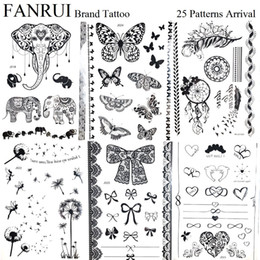 Wholesale Black Henna Hand Tattoos - Sexy Summer Bowknot Black Tattoo Stickers Butterfly Henna Lace Hands Temporary Tattoo Girls Neck Water Transfer Tatoos Women Arm