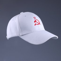 russian star Promo Codes - Russian Cap Embroidery Soviet Star Signs Baseball Cap White Cotton Snap Back Plain Hat 6 Panel Curved Brimmed Low Profile