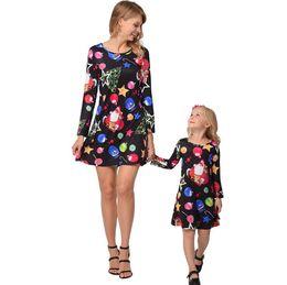 fefb989bf84 2018 new christmas family matching mother and kid girls designer dress  santas tree deer full printed family holidays dress up