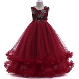 Canada Broderie Bright Diamond Flower Girl Dress pour Vêtements Robe De Mariée Trailing Enfants Enfants Robe De Fête Bébé Filles Saint Première Communion Offre
