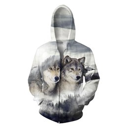 Wholesale 2xl Mens Casual Zip Jackets - Wholesale- Plus Size 5XL Mens Hoodies 3D Wolf Print Sweatshirts Zip Up Hoody Jackets Zipper Animal Outerwear Coat Tops Fashion Clothing